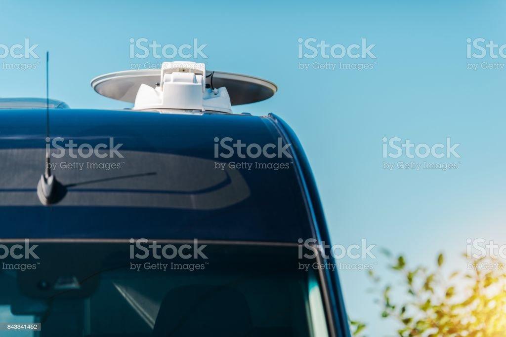 RV Camper Satellite TV Dish stock photo