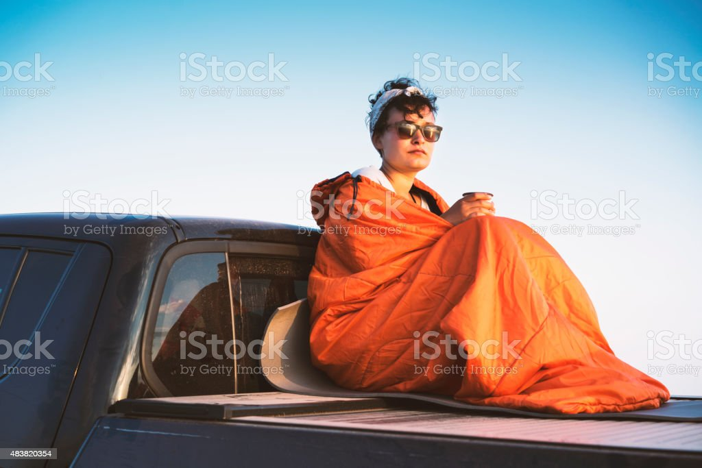 Camper sitting on the back of pickup truck stock photo
