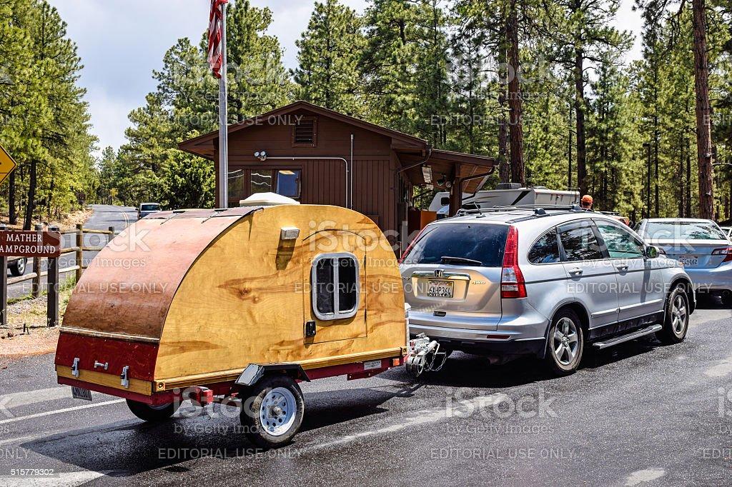 Camper trailer at Grand Canyon National Park stock photo