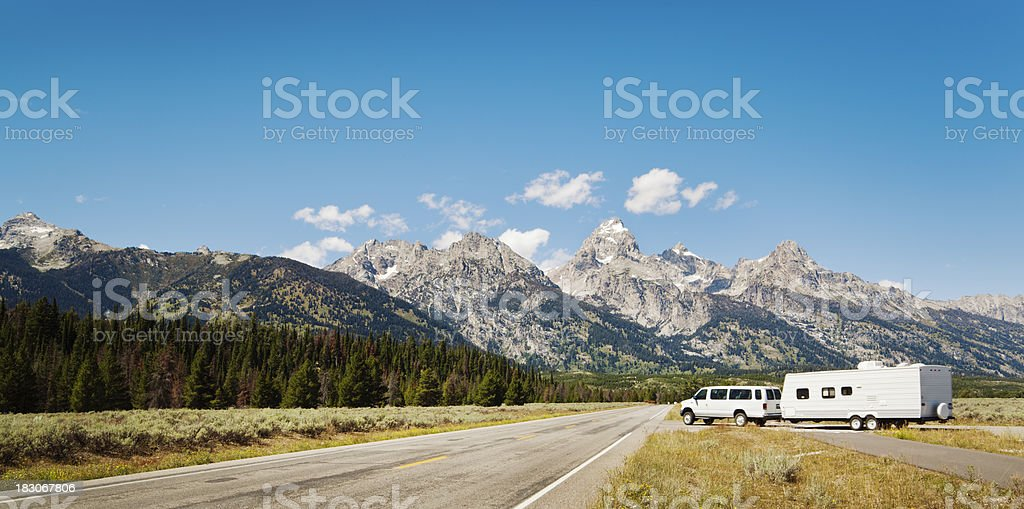Camper Vacation and Touring of the Grand Teton National Park stock photo