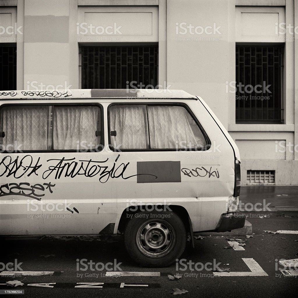 Camper van parked in the French capital stock photo