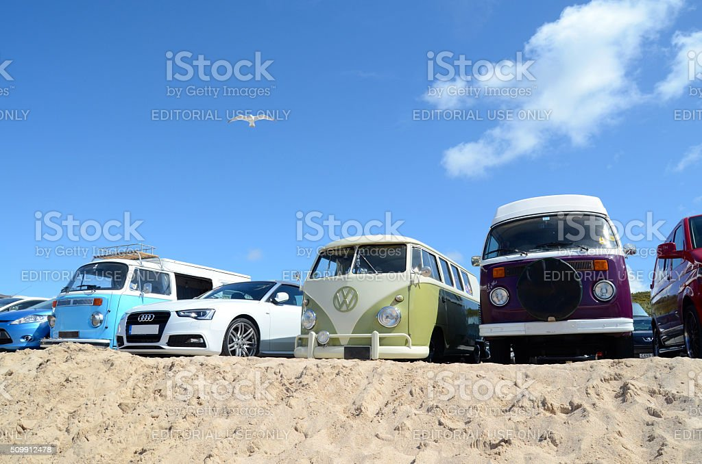 Camper vans at the beach stock photo