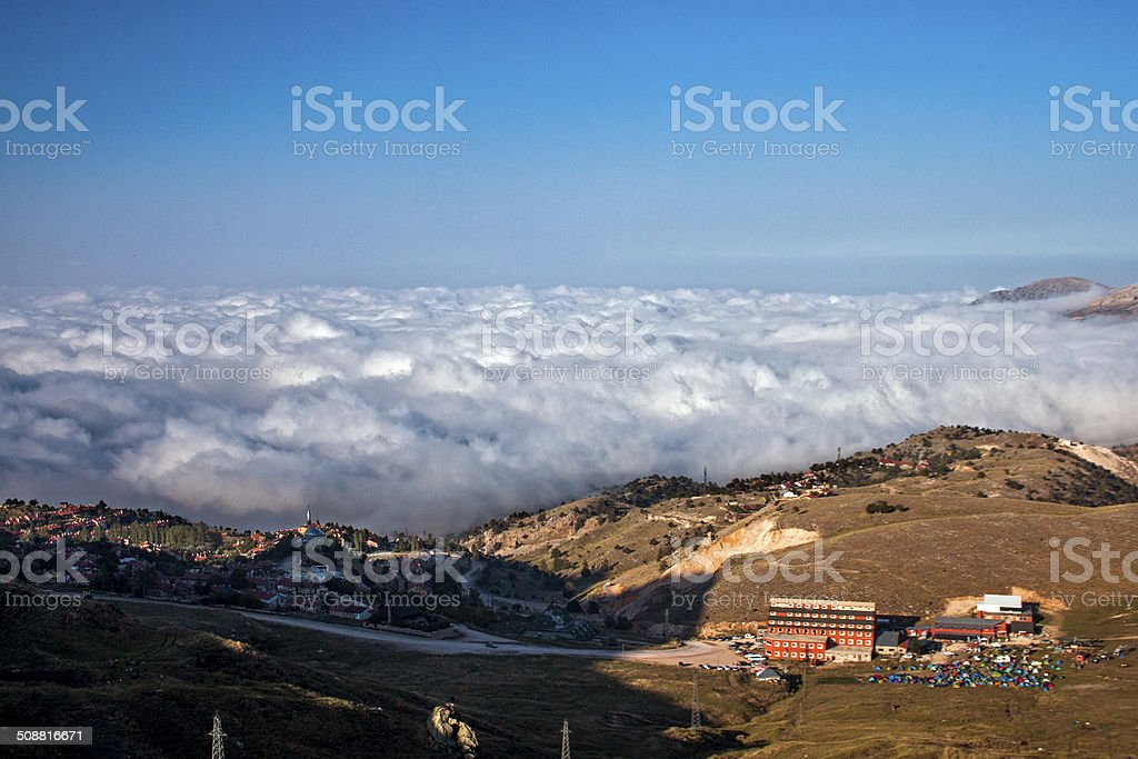 Campers above the clouds royalty-free stock photo