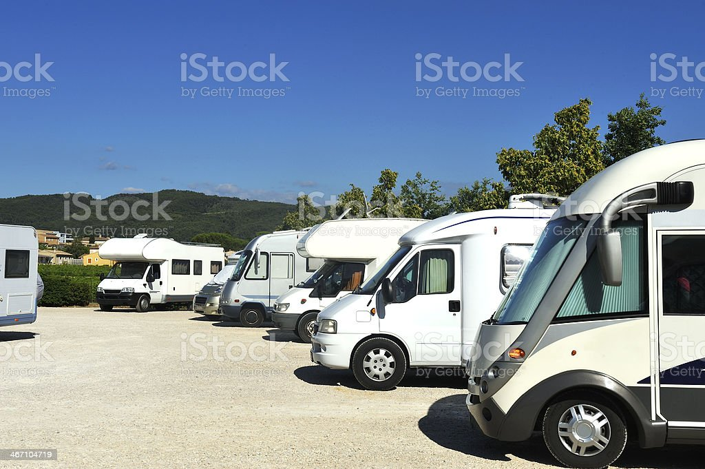 Campers at a camper site stock photo