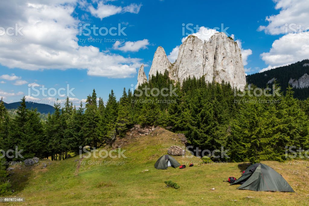 Campers on mountain top stock photo