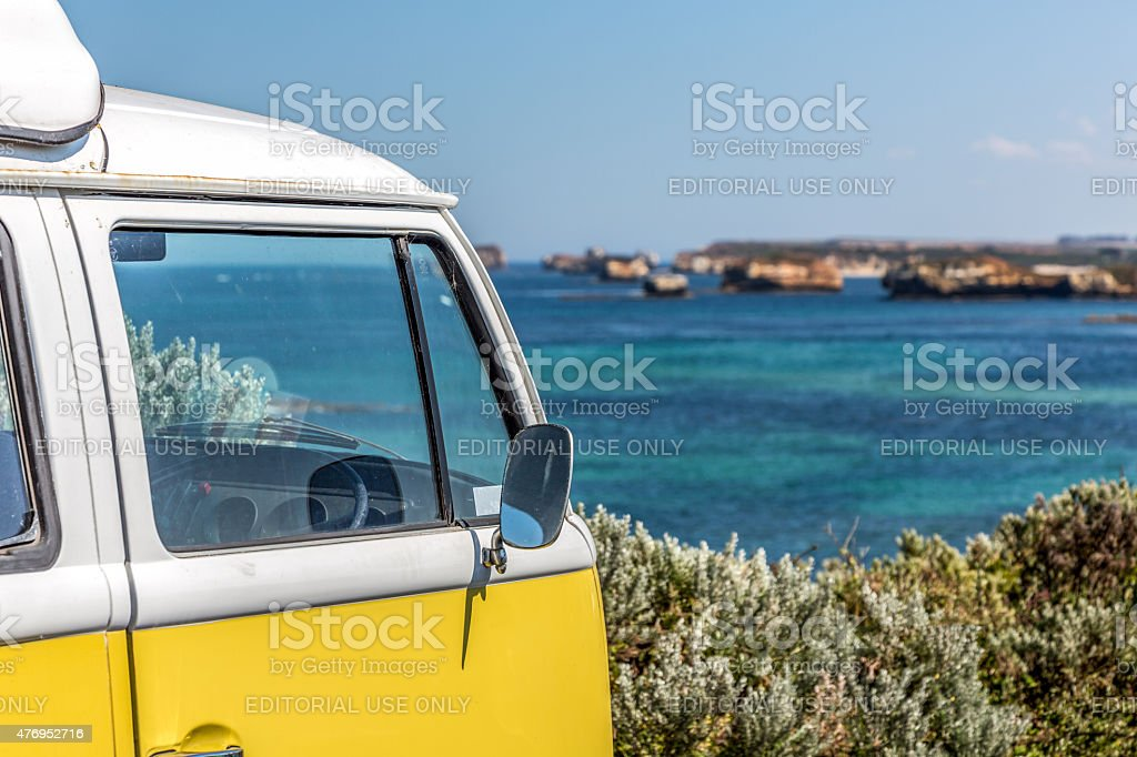 Campervan along The Great Ocean Road, Victoria, Australia stock photo