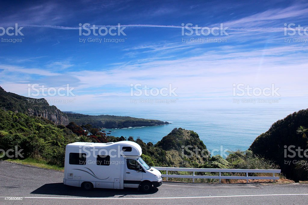 Campervan parked up by the Sea stock photo