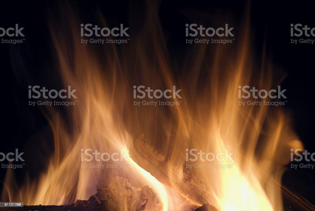 Campfire – Burning Wood stock photo