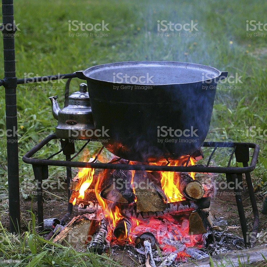 Campfire and cauldron. royalty-free stock photo