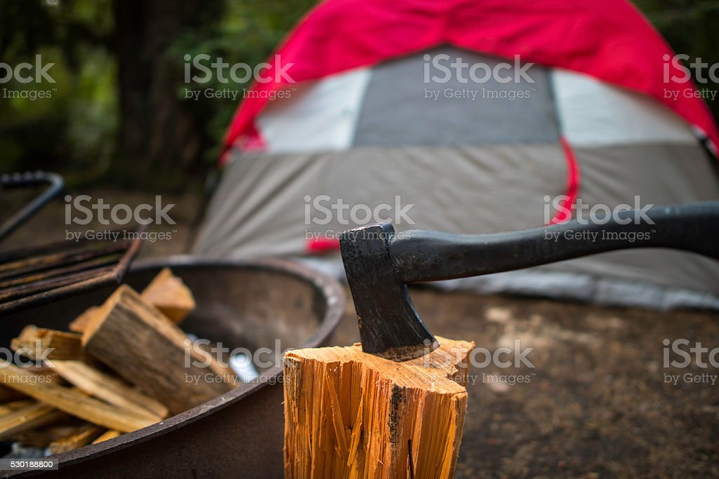 Campfire at camping ground stock photo