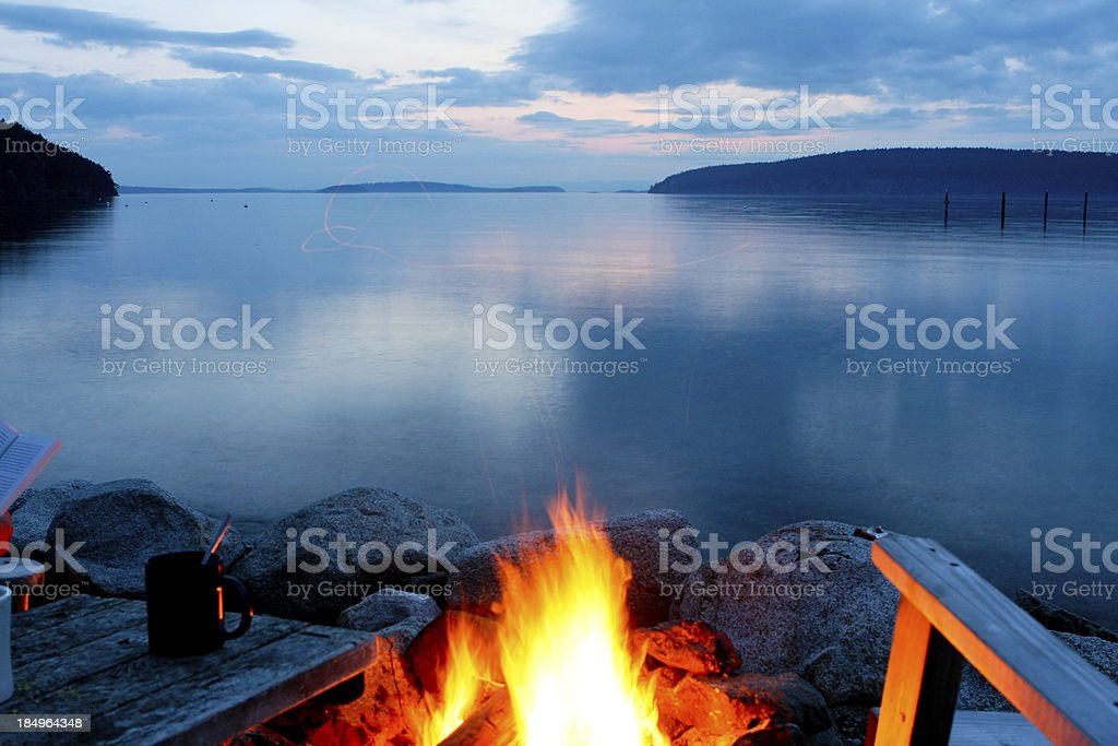 Campfire at Dusk stock photo
