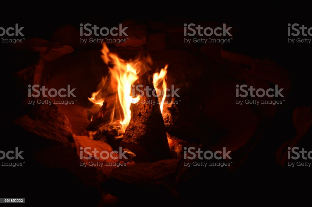 Campfire At Night stock photo