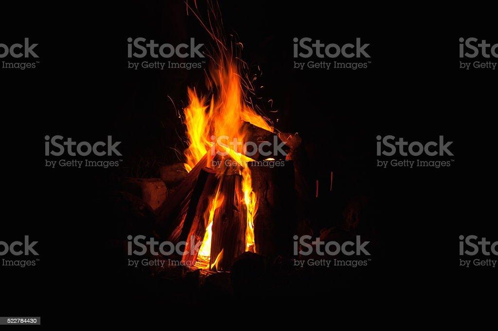 campfire burning stock photo