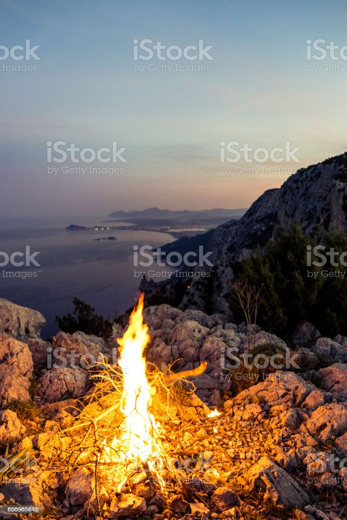 Campfire by the Sea stock photo