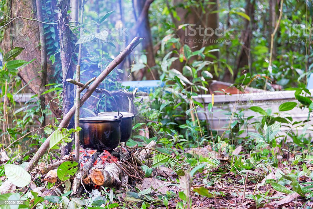 Campfire Cooking in the Amazon stock photo