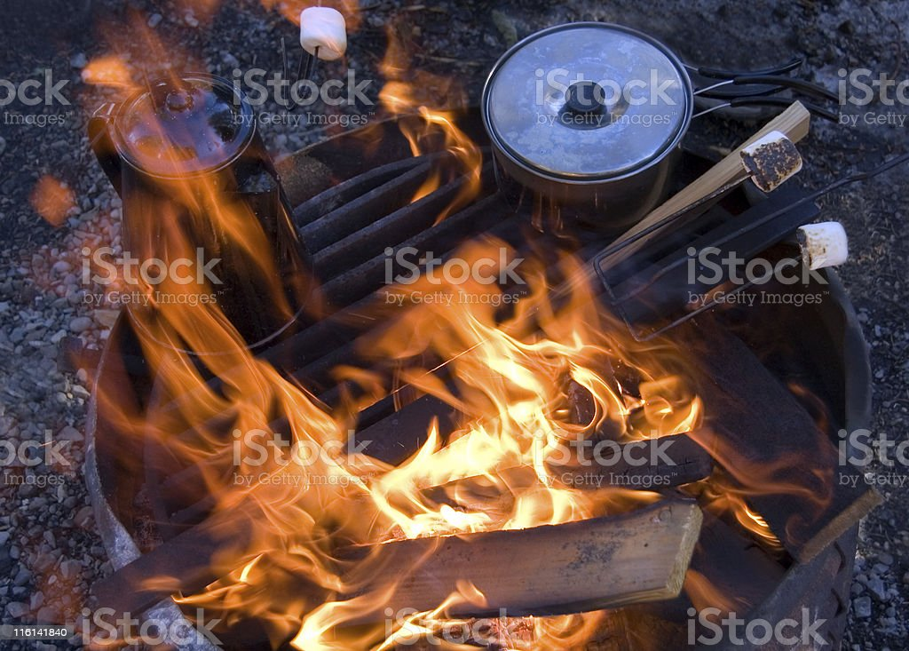Campfire Cookout stock photo