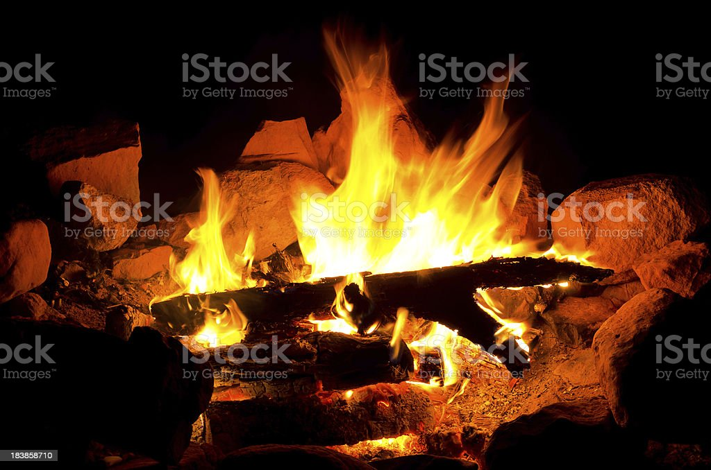 Campfire Fire With Glowing Hot Coals royalty-free stock photo