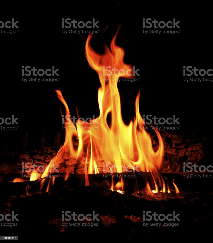 Campfire flames. stock photo