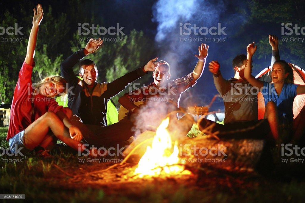 Campfire guitar session. stock photo