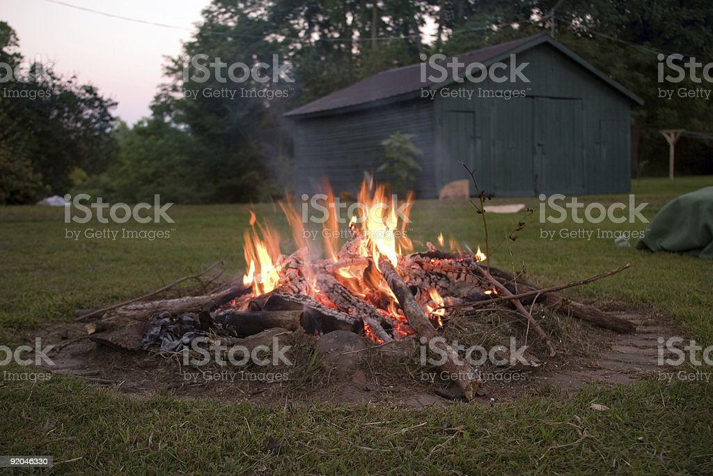Campfire in the Backyard royalty-free stock photo