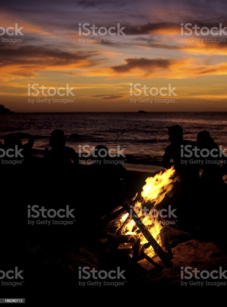 campfire on the beach royalty-free stock photo