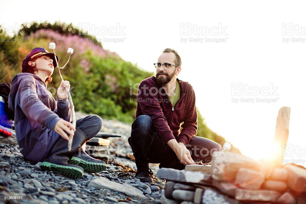Campfire On The Beach stock photo