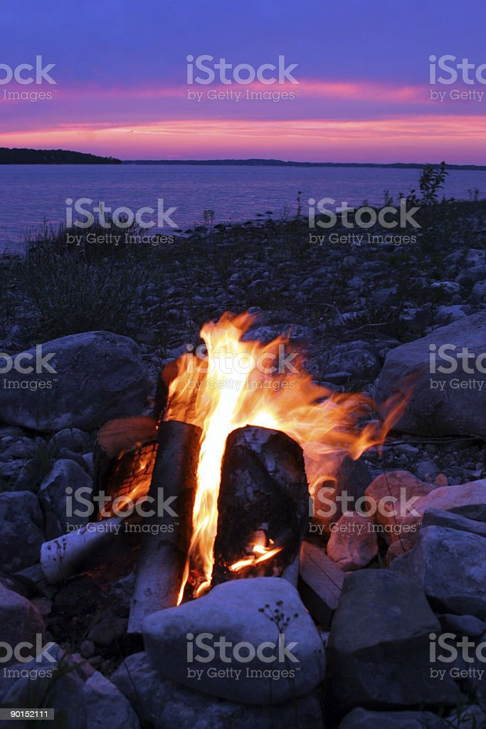 Campfire on the lake royalty-free stock photo