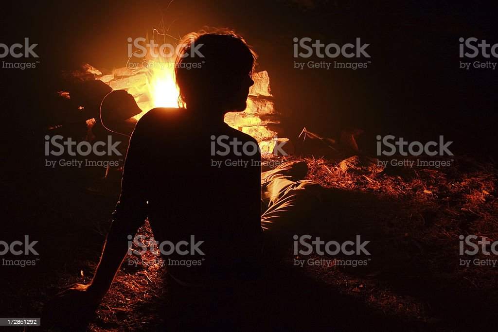 Campfire Relaxing royalty-free stock photo