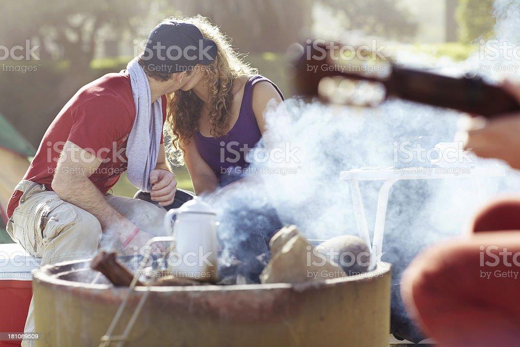 Campfire romance royalty-free stock photo