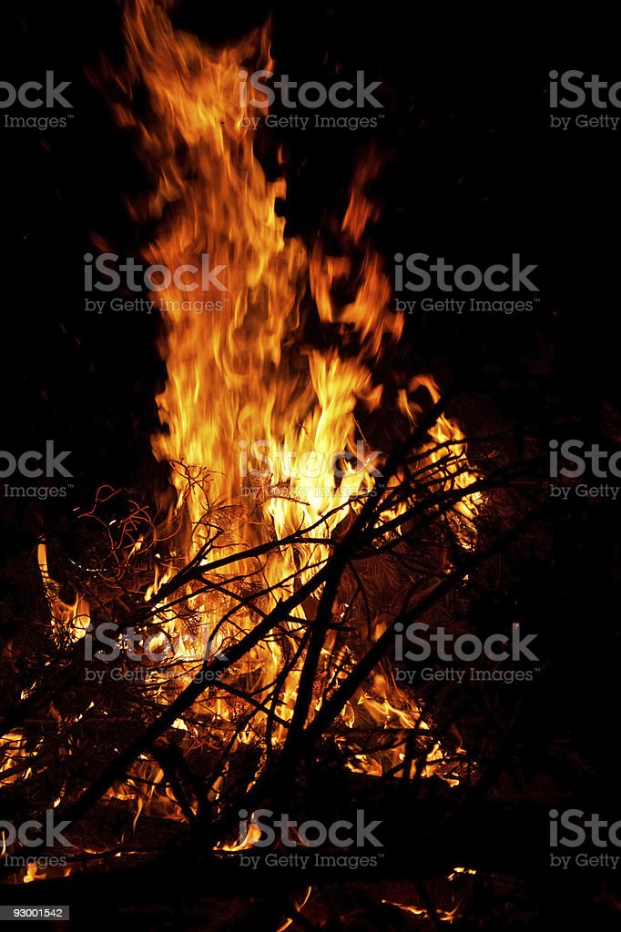 Campfire with big flames royalty-free stock photo