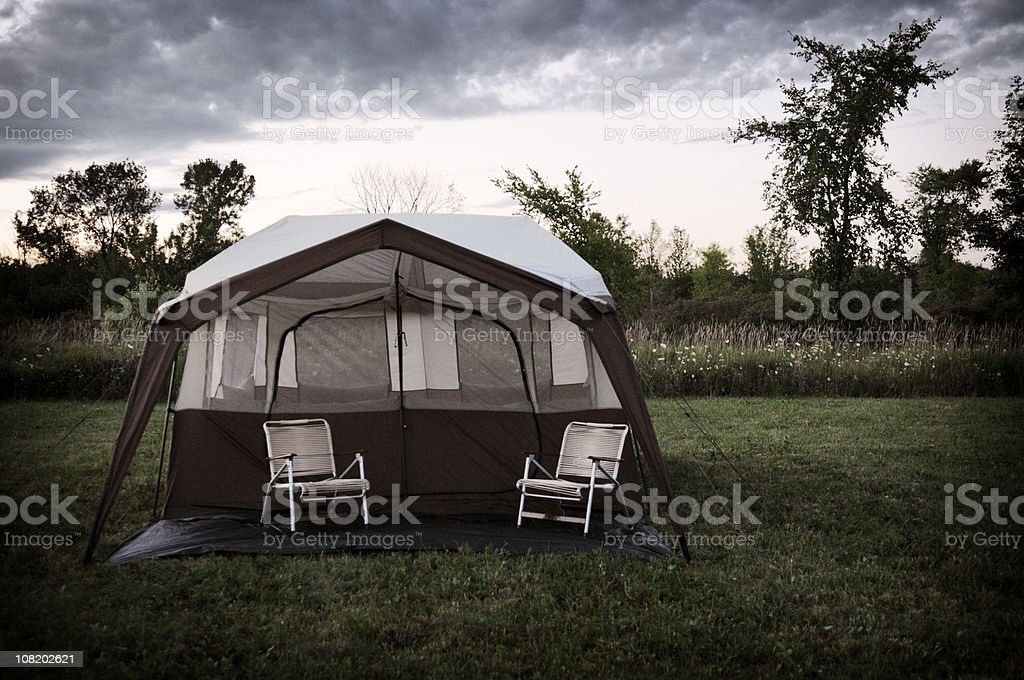 Campgroun Tent in Evening royalty-free stock photo