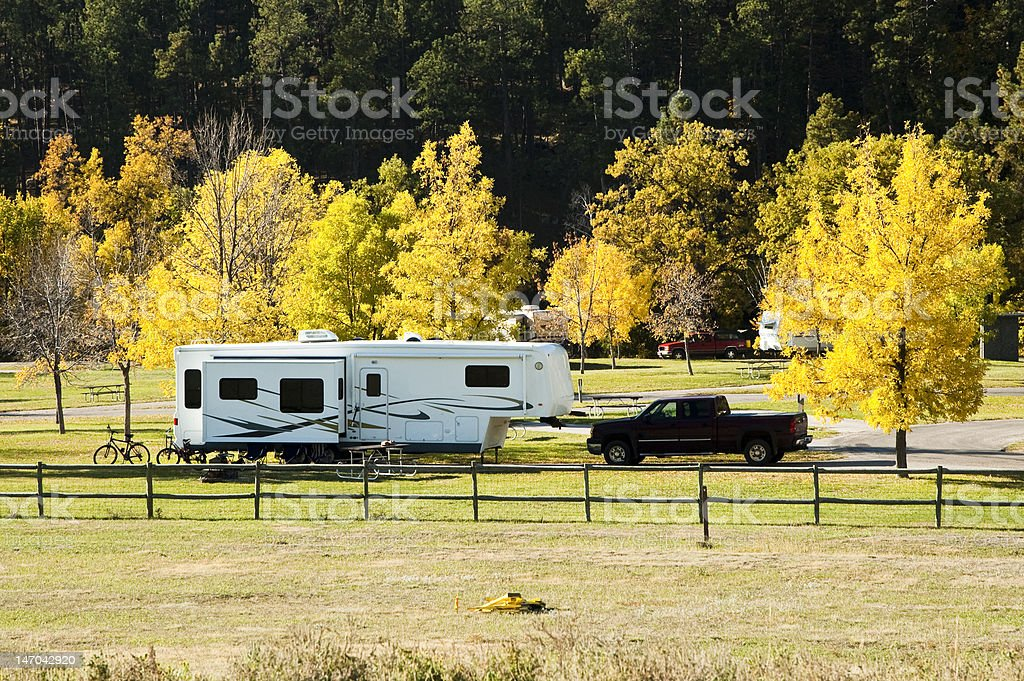 RV Campground Fall Colors stock photo