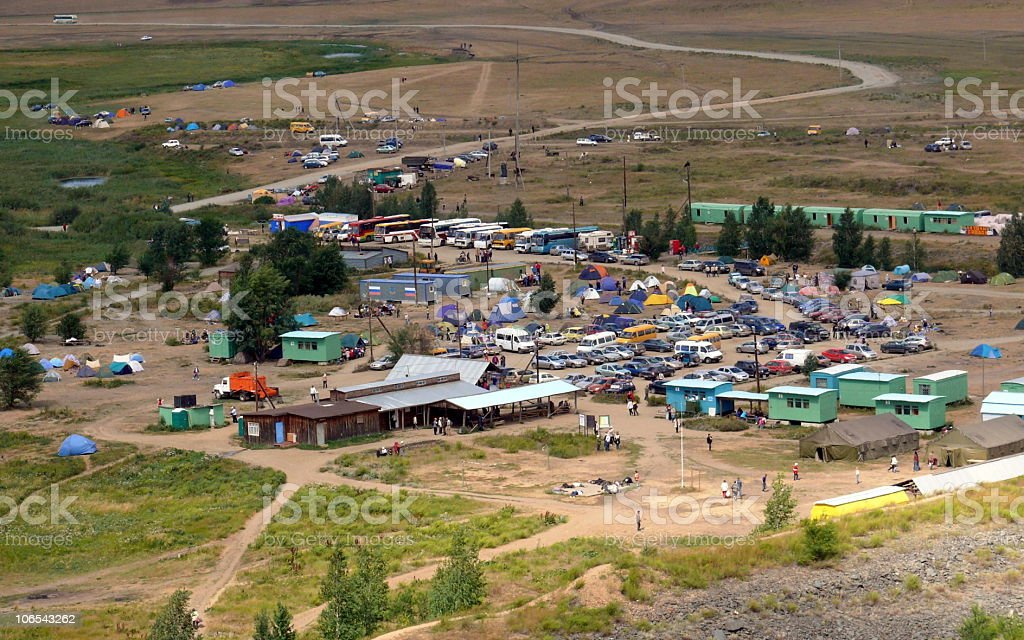 campground in historic landscape museum-reservation Arkaim stock photo