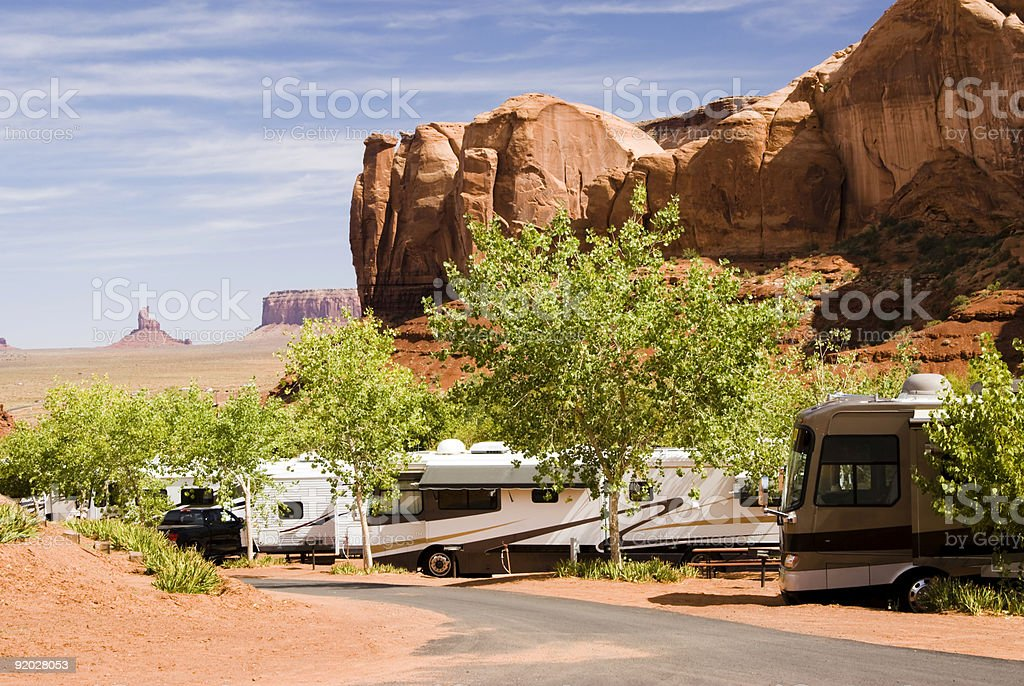 campground in Monument Valley stock photo