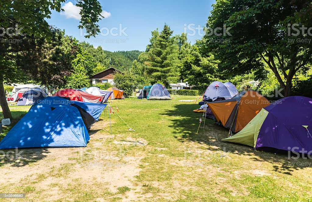Campground with tents stock photo