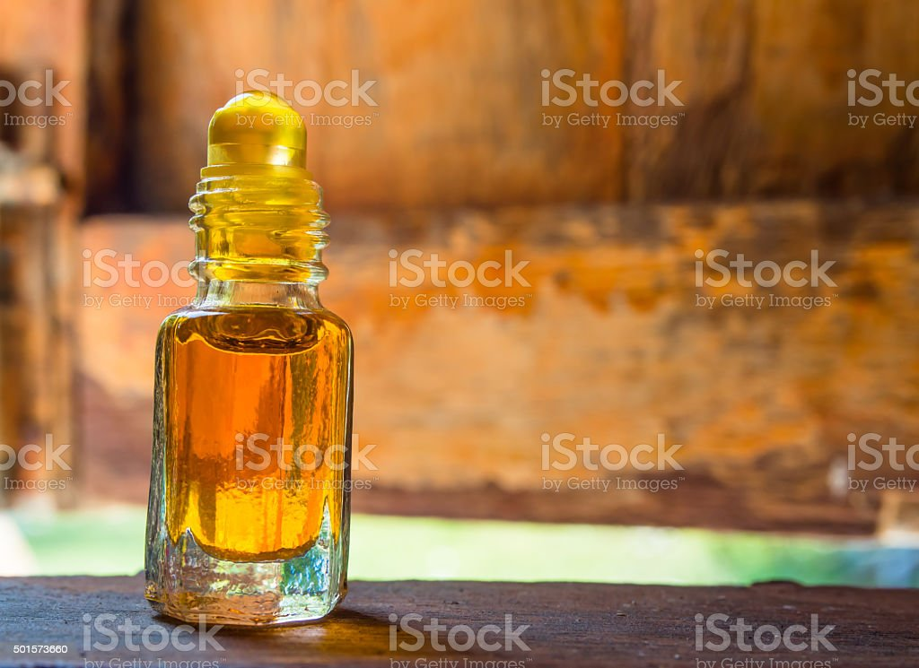 Camphor oil is placed on the window sill. stock photo