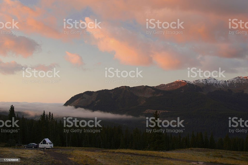 Camping above the clouds royalty-free stock photo