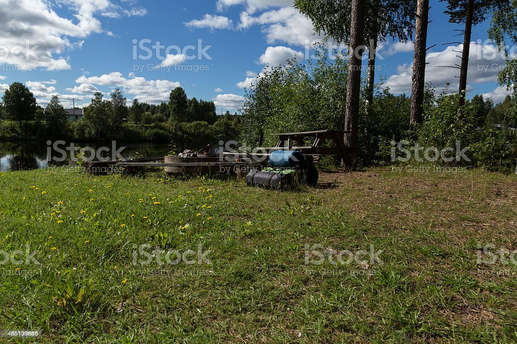 camping and fishing equipment royalty-free stock photo