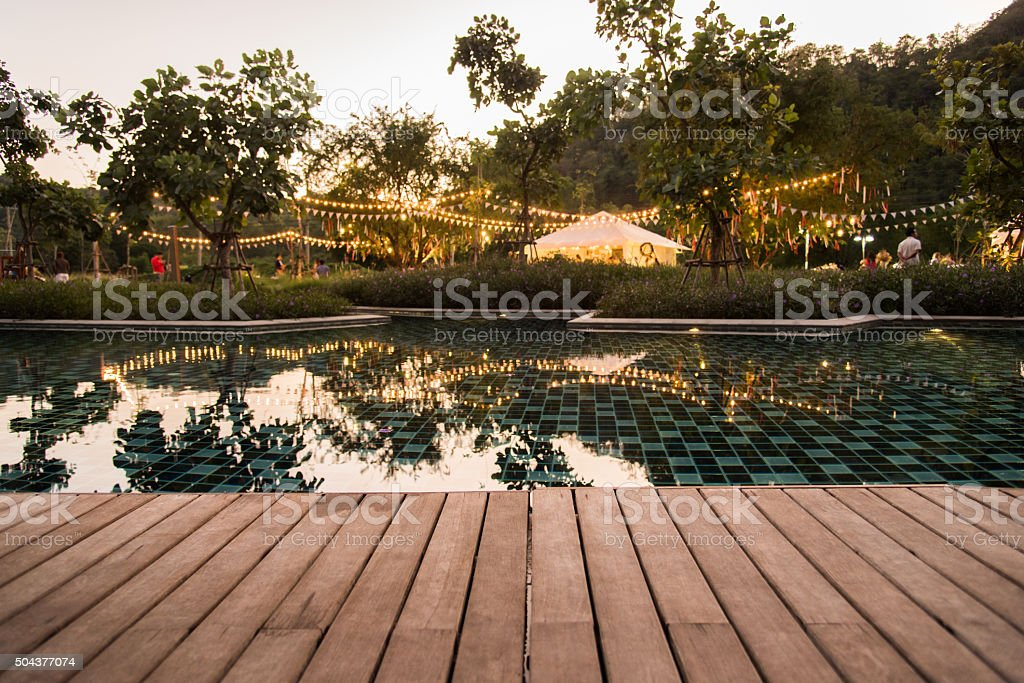 camping and pool party stock photo