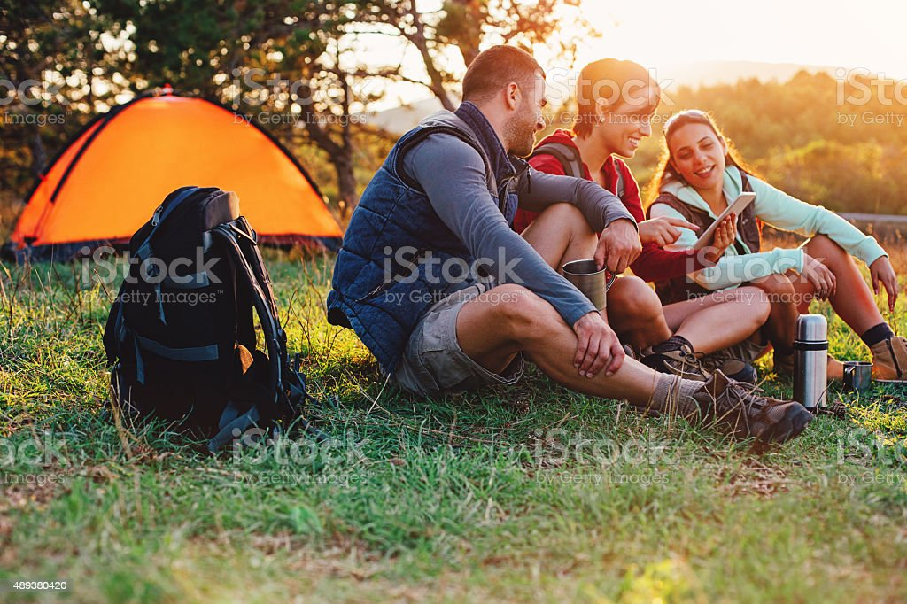 Camping and technology stock photo