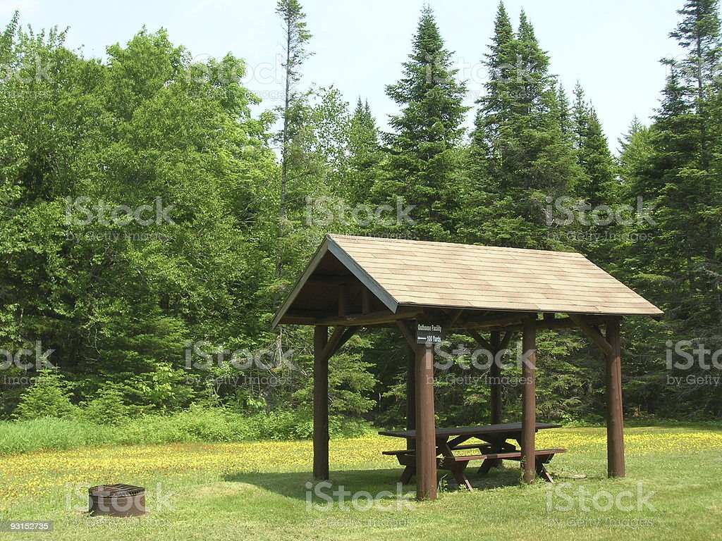 Camping area in Baxter State Park Maine stock photo