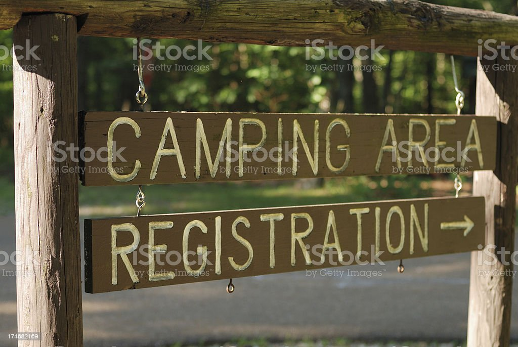 Camping Area Registration Sign royalty-free stock photo