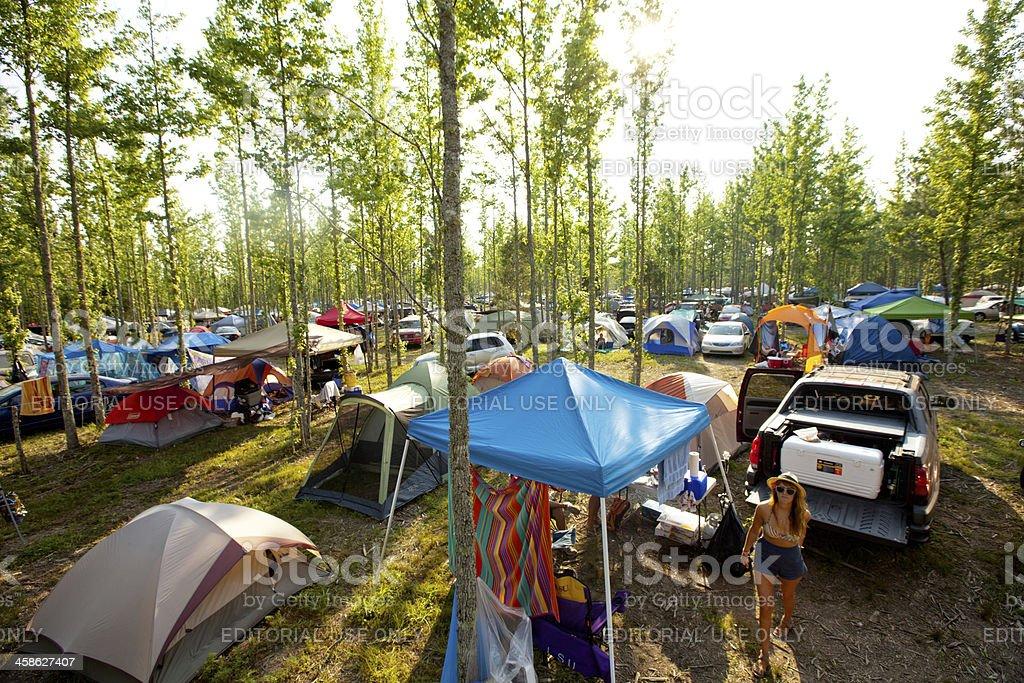 Camping at Bonnaroo Music and Arts Festival stock photo