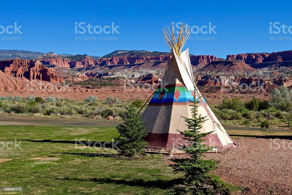 Camping at First Nation Teepee in Amrican Wild West. stock photo