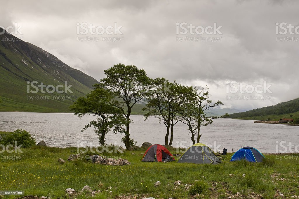 Camping at Glen Etive in the Scottish Highlands. royalty-free stock photo