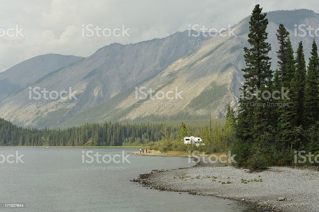 Camping at lake royalty-free stock photo