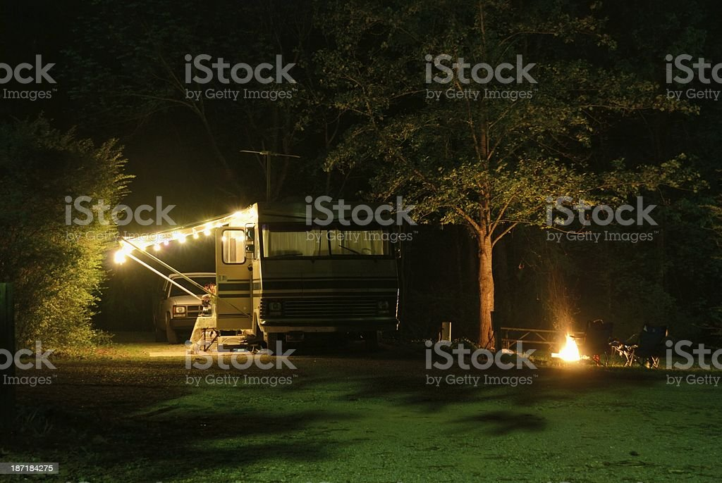 RV camping at night royalty-free stock photo