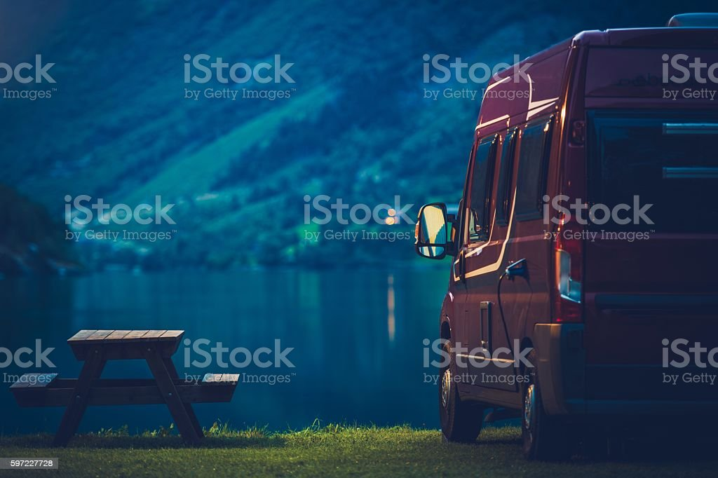 RV Camping at Night stock photo