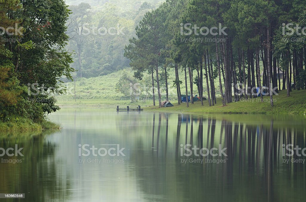 Camping at Pang Ung. Beautiful forest lake in the morning royalty-free stock photo