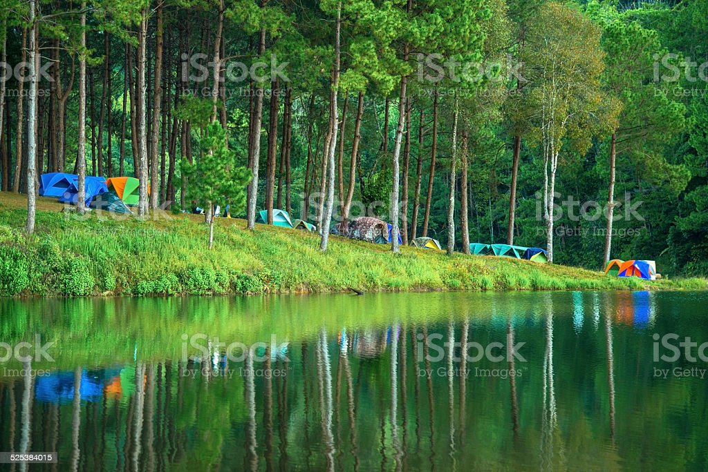 Camping at Pang Ung. Beautiful forest lake in the morning. stock photo